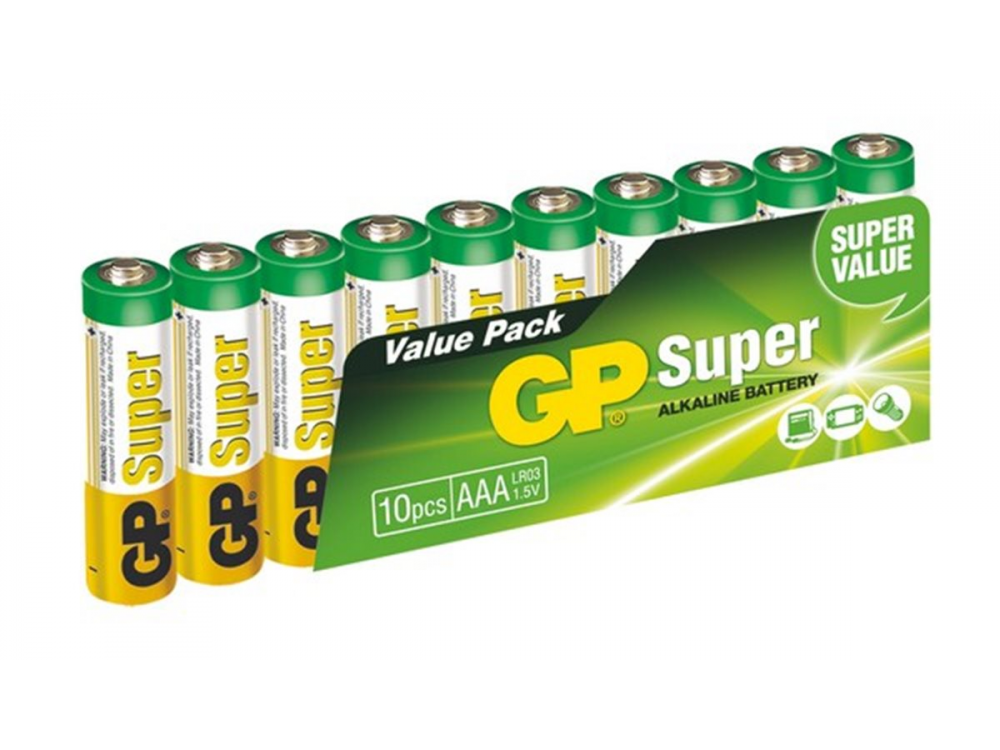 Batéria GP SUPER ALKALINE BATTERY AAA (LR03) - 10KS - NEW
