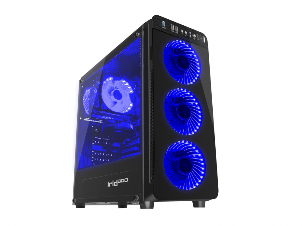 Case PC Genesis IRID 300 BLUE MIDI (USB 3.0), 4 Fan , Illuminating Blue Light - NEW
