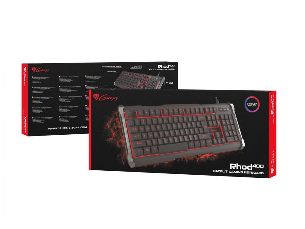 Klávesnica Genesis Rhod 400 Gaming, 3 color, US - ENG keyboard | Wired