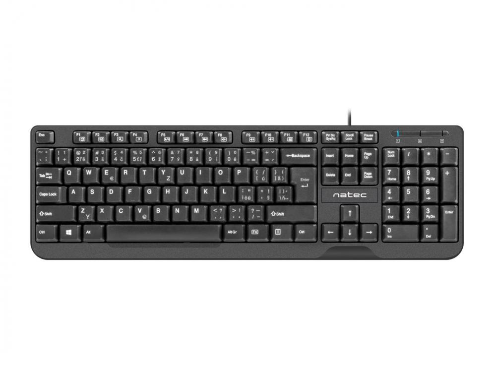 Klávesnica Natec Trout, CZ/SK Layout, Slim Multimedia, 1,8m Kabel - SK-CZ keyboard | NEW | Wired