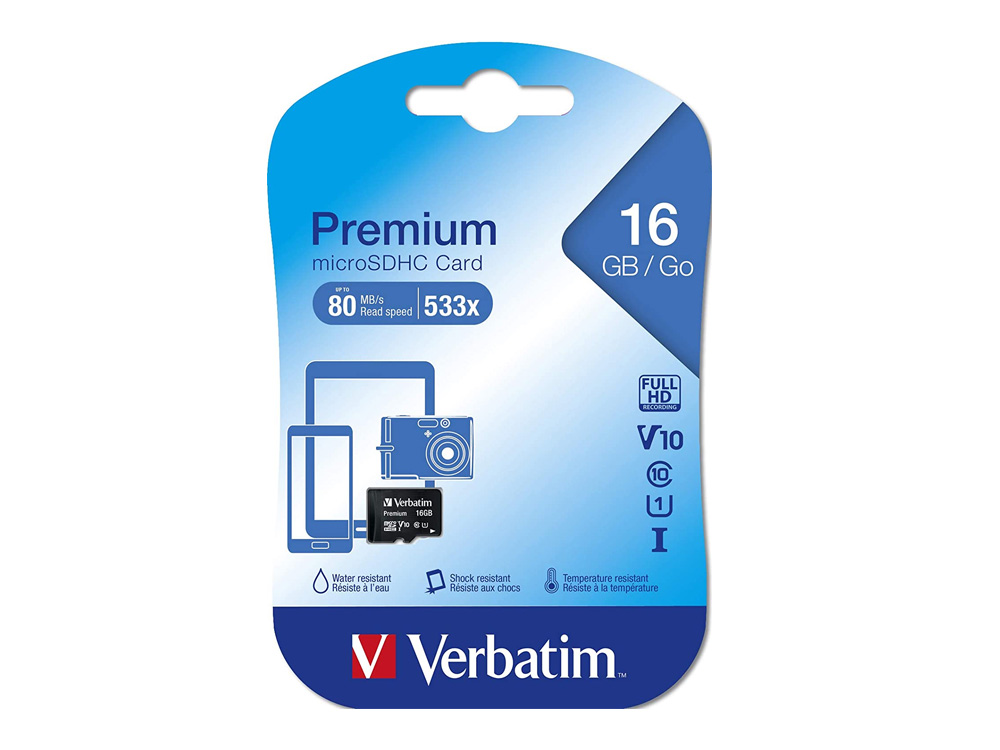MicroSD card Verbatim 16GB microSDHC class 10 - 44010 - NEW