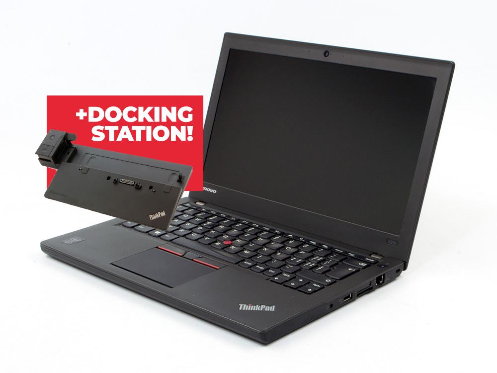 "Lenovo ThinkPad X250 + Docking station Lenovo ThinkPad Pro Dock (Type 40A1) - i5-5300U   8GB DDR3   240GB SSD   NO ODD   12,5""   1366 x 768   Webcam   HD 5500   Win 10 Pro   Bronze"