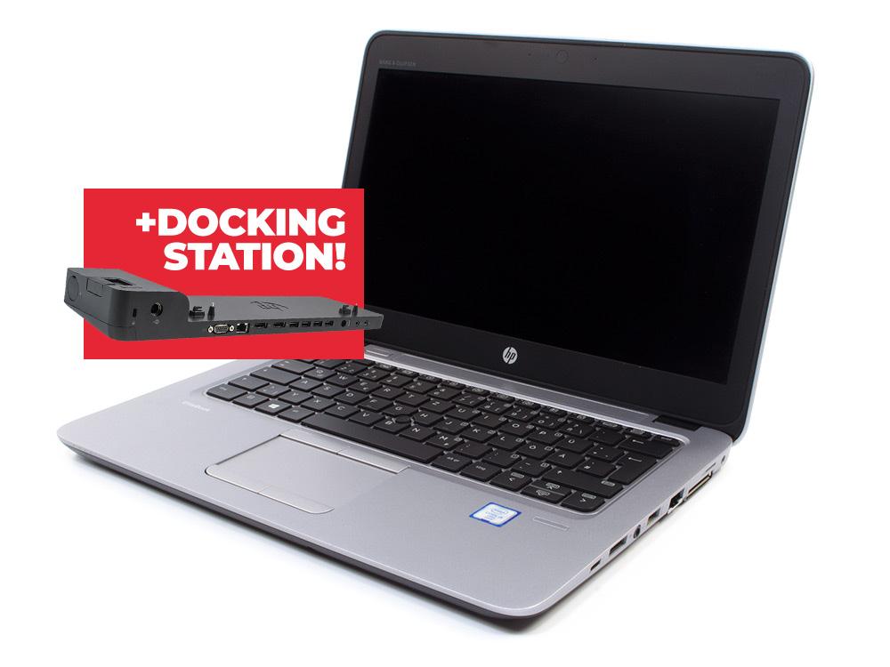 "HP EliteBook 820 G3 + Docking station HP 2013 Ultra Slim D9Y32AA - i5-6300U   8GB DDR4   240GB SSD   NO ODD   12,5""   1366 x 768   Webcam   HD 520   Win 10 Home   Silver"