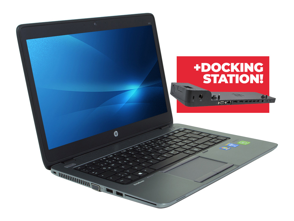 "HP EliteBook 840 G1 + Docking station HP 2013 Ultra Slim D9Y32AA - i5-4300U | 8GB DDR3 | 128GB SSD | NO ODD | 14"" | 1366 x 768 | Webcam | HD 4400 | Win 7 Pro COA | Bronze"