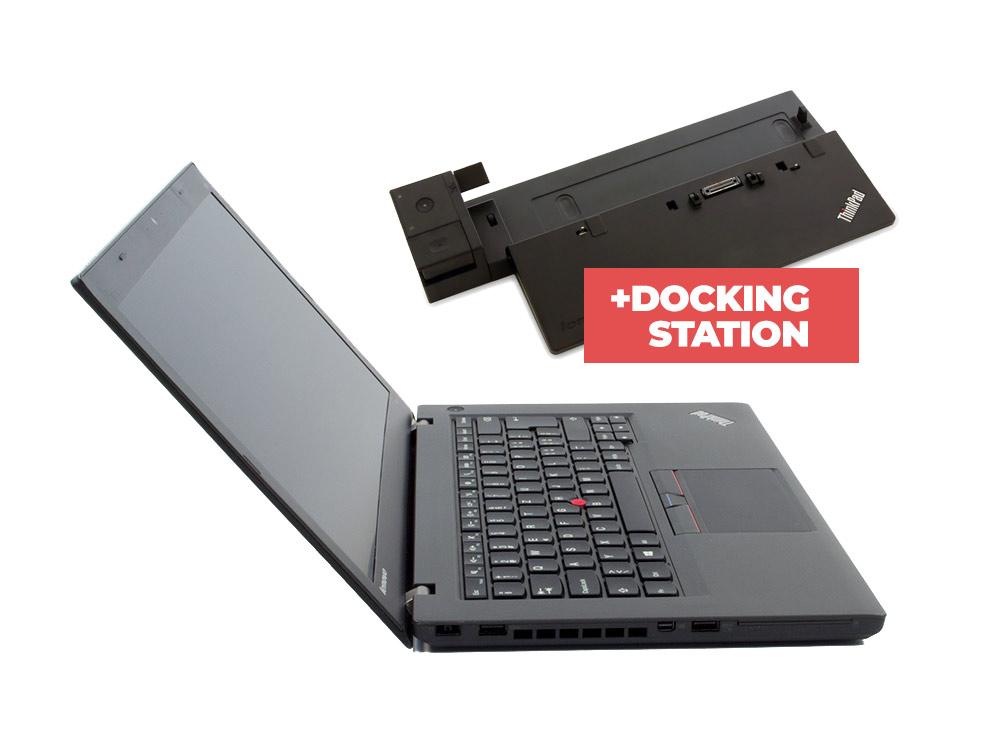 "Lenovo ThinkPad T450 + Docking station ThinkPad Ultra Dock (Type 40A2) - i5-5300U   8GB DDR3   240GB SSD   NO ODD   14,1""   1600 x 900   Webcam   HD 5500   Win 10 Pro   Bronze"