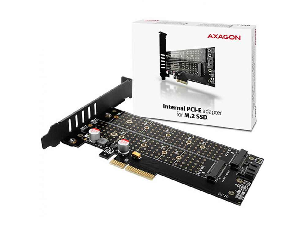PCI express card AXAGON PCEM2-D, PCIe x4 - M.2 NVMe M-key + SATA B-key slot adapter, vč. LP - NEW