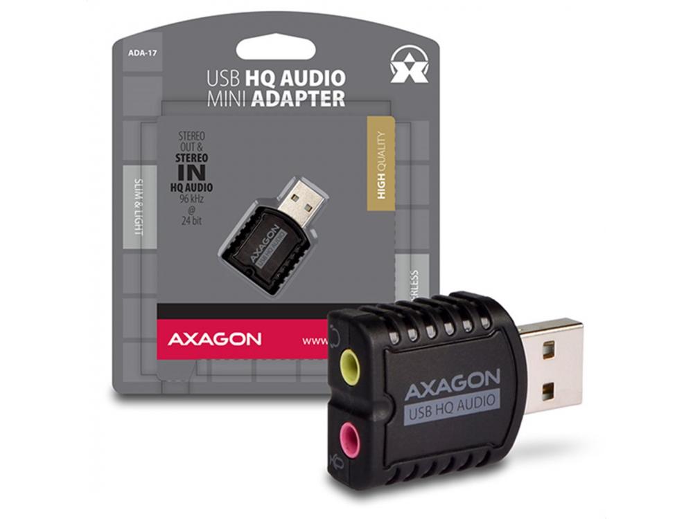 Zvuková karta AXAGON ADA-17, USB2.0 - stereo HQ audio MINI adapter, 24-bit/96kHz, USB Sound card - NEW