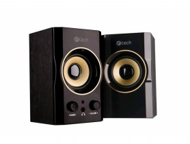 C-Tech SPK-11, 2.0, Wood, Black-Gold, Jack/USB