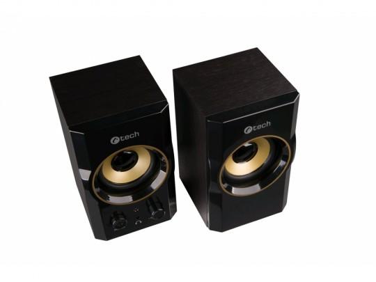 C-Tech SPK-11, 2.0, Wood, Black-Gold, Jack/USB Reproduktor - 1840024 #3