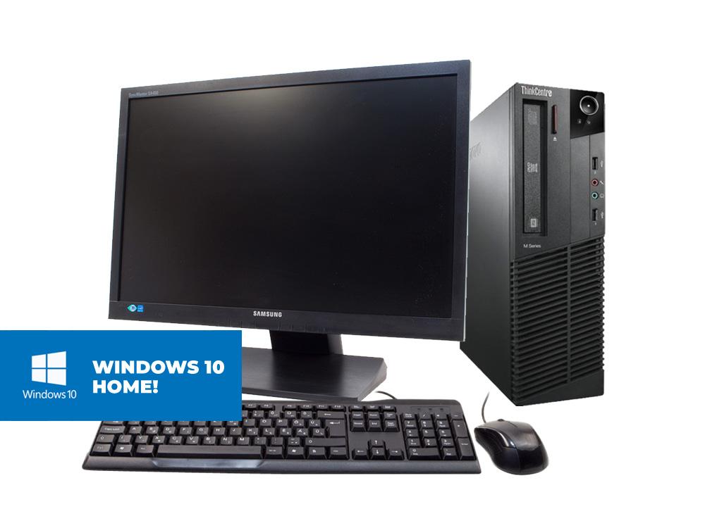 "Lenovo Thinkcentre M91P SFF + Samsung S22A450 + MAR Windows 10 Home - SFF | i5-2400 | 8GB DDR3 | 120GB SSD | 250GB HDD 3,5"" | DVD-ROM | MAR Win 10 Home | Silver"