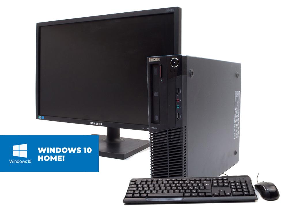 "Lenovo Thinkcentre M91P SFF + Samsung S22E450 + MAR Windows 10 Home - SFF   i5-2400   8GB DDR3   120GB SSD   250GB HDD 3,5""   DVD-ROM   MAR Win 10 Home   Silver"