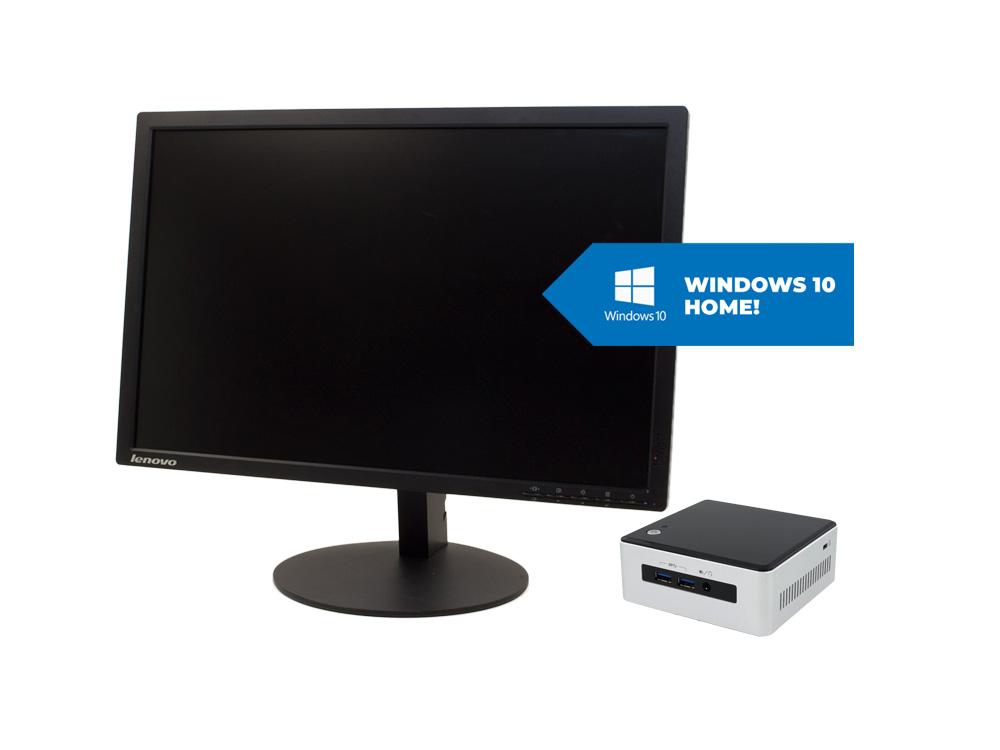 """Intel NUC5i5MYHE + 22"""" HP T2254a + MAR Windows 10 HOME - UCFF   i5-5300U   8GB DDR3   120GB SSD   NO ODD   HD 5500   MAR Win 10 Home   miniDP   Bronze"""
