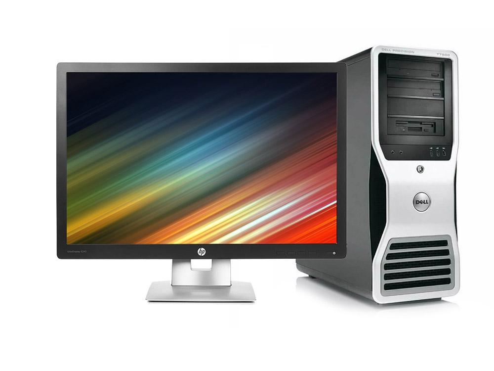 """Dell Precision T7500 Workstation + 24"""" HP Elitedisplay E242 IPS (Quality Silver) - TOWER   Xeon E5507   8GB DDR3   120GB SSD   DVD-ROM   Quadro 4000 2GB   Win 10 Pro   Silver"""